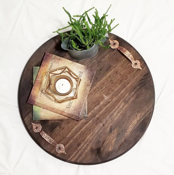Wood Tray w/ Copper Handles - 15""