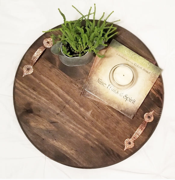 Wood Tray w/ Copper Handles - 12""