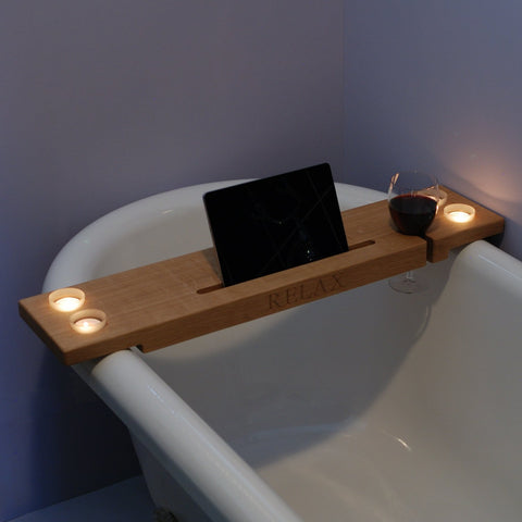 personalised wooden bath tray