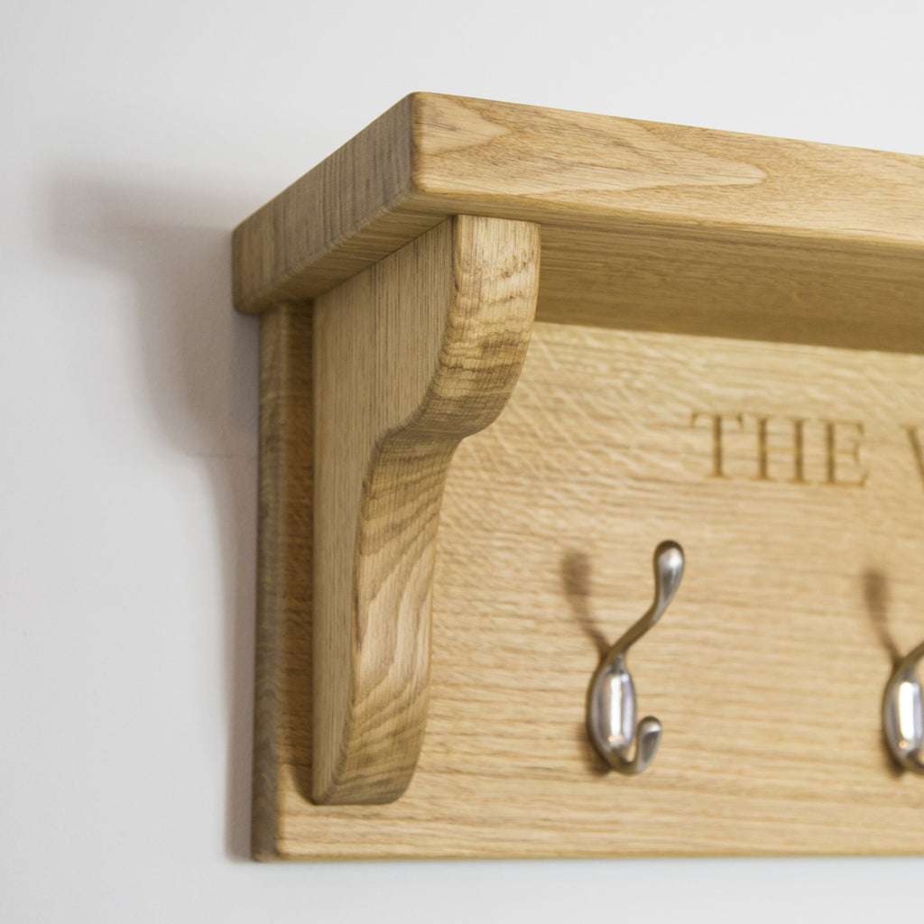 Coat Rack with Shelf - The Engraved Oak Company