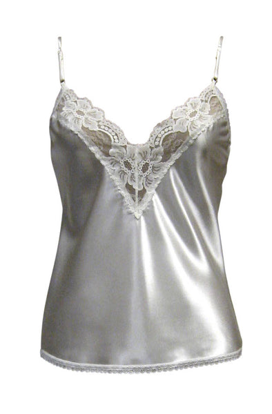 FARR WEST Lace Trim Satin Camisole V-Neck STYLE# 514