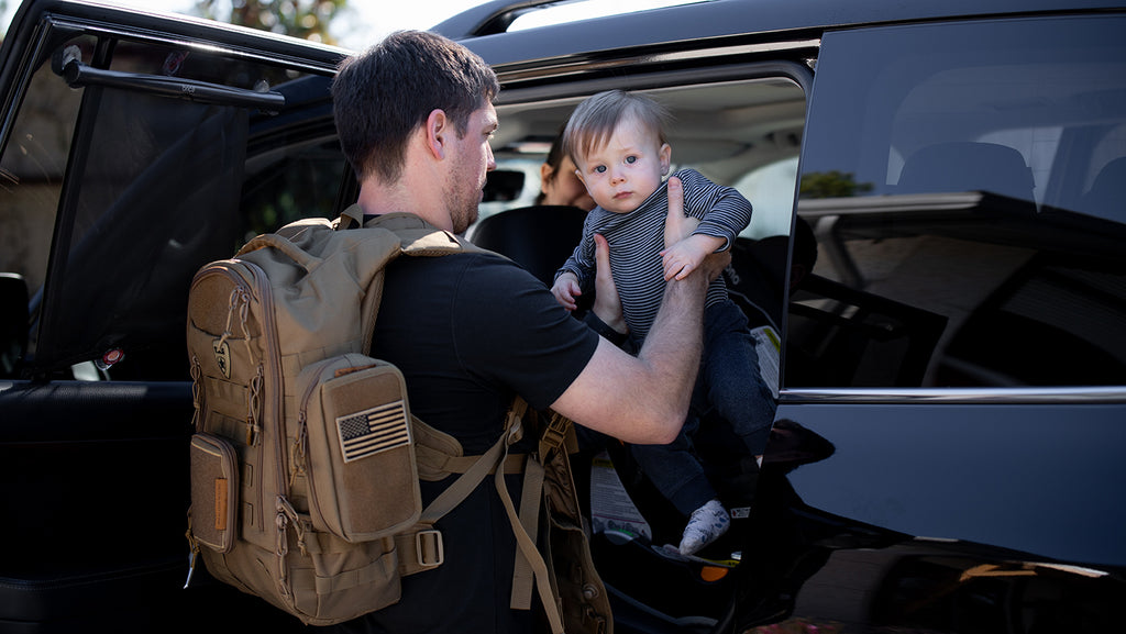 Diaper bag backpack for tactical dads with military style wipes pouch