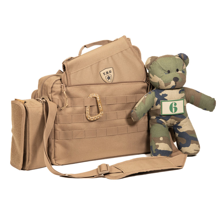 Coyote Brown tactical diaper bag for men with changing pad