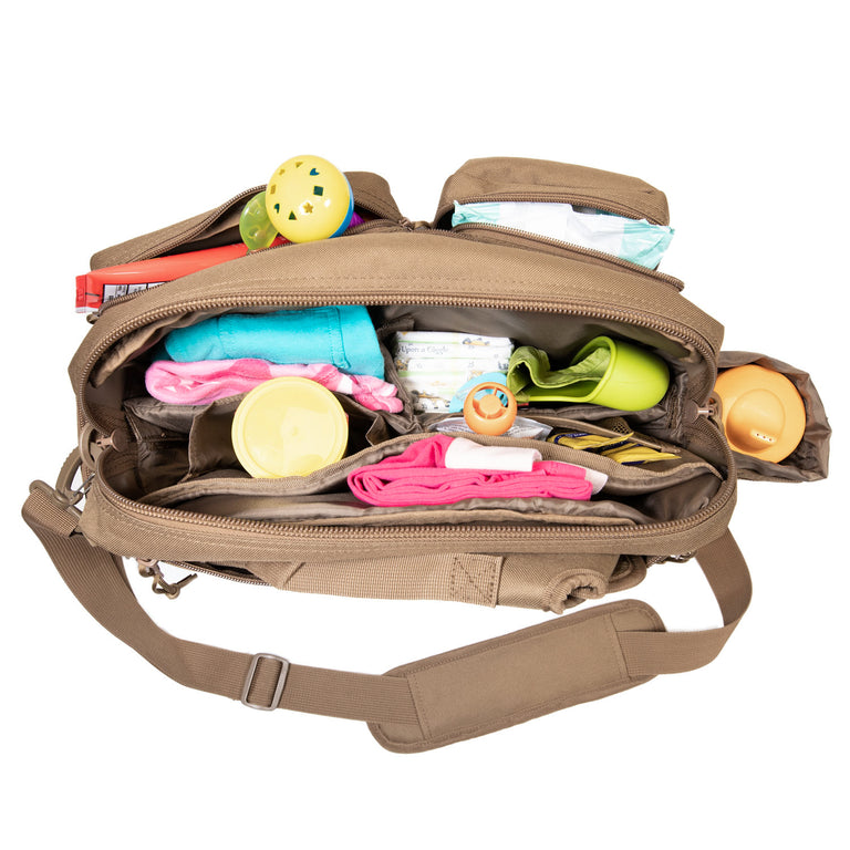 brown diaper bag to hold baby gear essentials