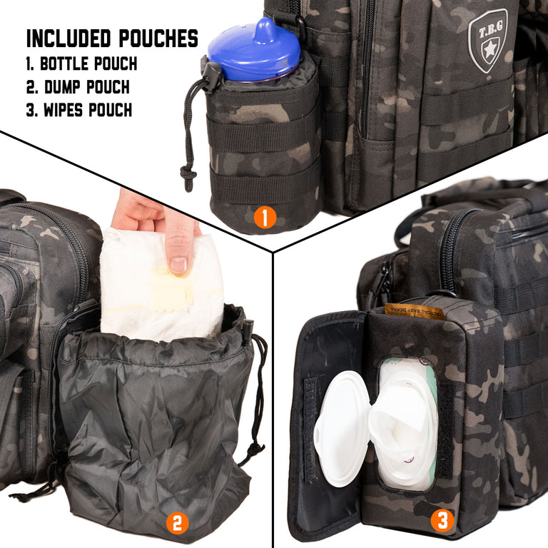 Black camo diaper bag with wipes pouch bottle pouch and dump pouch baby accessories