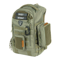 Ranger Green mens diaper bag backpack with wipes pouch bundle