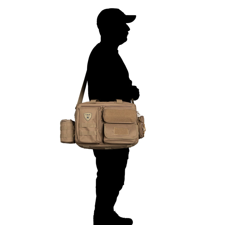 Mens diaper bag for dads with military style accessories