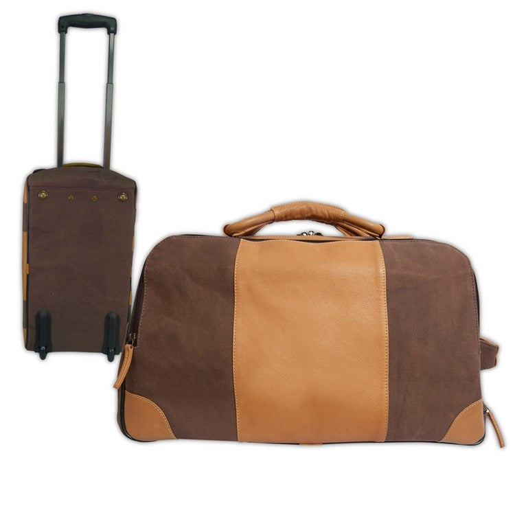 549070ca32d5 Canyon Outback Sandstone Stilson Canyon Leather Canvas Rolling Carry-On  Duffel Bag Brown