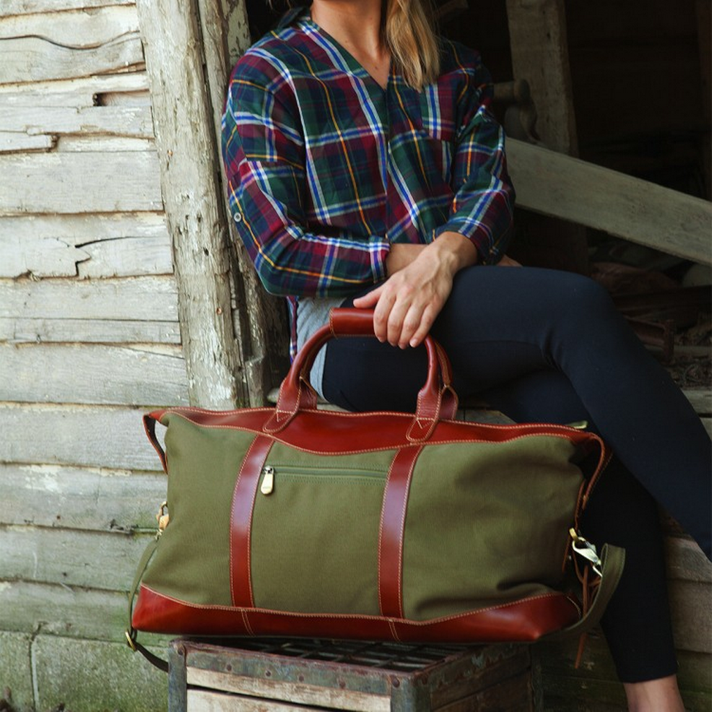 d1bc7a85c1f3 Canyon Outback Highlander Pine Canyon Buffalo Leather Canvas Carry-On Duffel  Cognac Forest Green