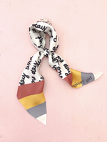 What IF Rainbow Stripe Handwritten Diamon Doll Silk Twill Kite Scarf