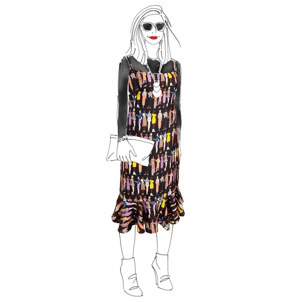Fashion Sketch Printed Silk Ruffle Shift Dress - One of a Kind