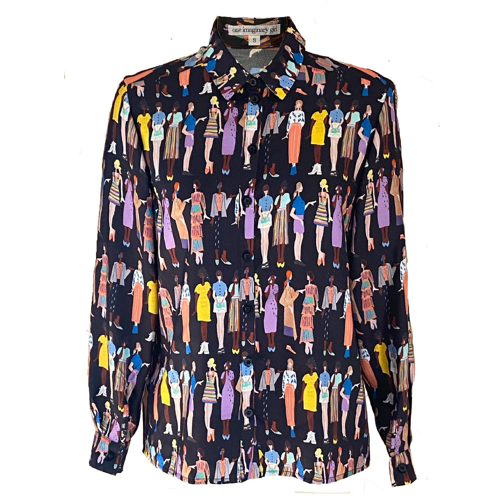 Fashion Sketch Print Silk Twill Blouse