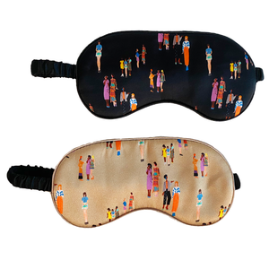 Social Distance Print Silk Sleep Mask- Set of 2