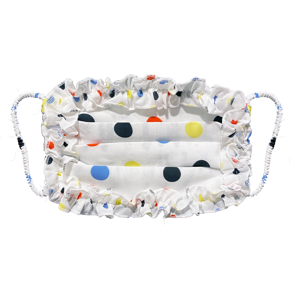 Polka Dot Printed Fashion Face Mask with Ruffle Detail