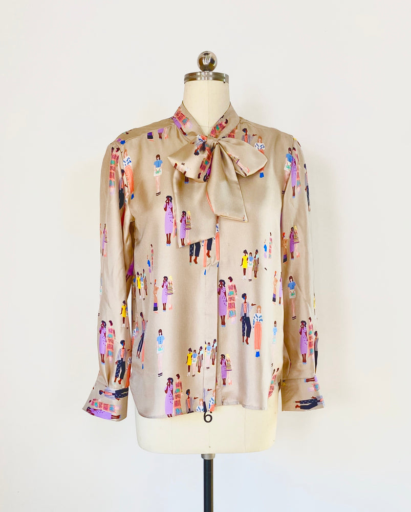 Social Distance Print Silk Twill  Pussy Bow Blouse