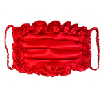 Silk Charmeuse Pleated Luxe Face Mask with Ruffle Detail- 3 colors!