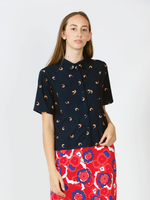 """Shrimps"" Short Sleeve Printed Blouse"