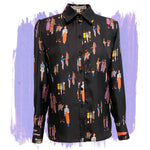Silk Twill Blouse in Social Distance Print