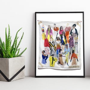 Watercolor Fashion Illustration Cotton Scarf