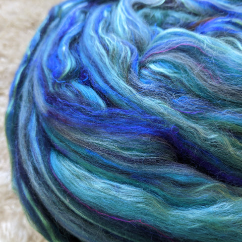 Azurite Superfine Merino Silk Signature Custom Blended Top - 4 oz