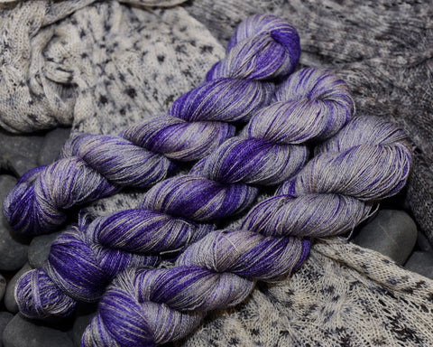 Jacaranda and Argent on BFL Silk Lace - 100g