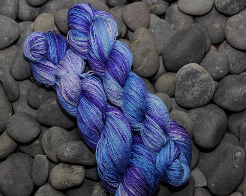 Jacaranda and Sky on BFL Silk Lace - 100g
