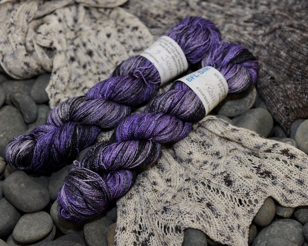 Raven and Jacaranda on BFL Silk Lace - 100g
