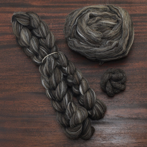 Carrie Furnace Signature Blend (BFL/Black Welsh/Zwartbles/Shetland/Silk) - 4 oz