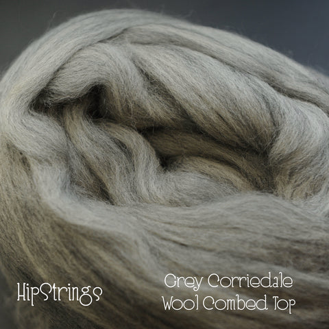 Grey Corriedale Combed Wool Top (4 oz)