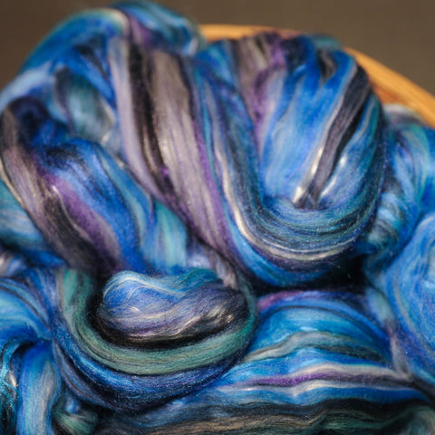 Blue Satin Sashes Merino Silk Combed Top - 4 oz