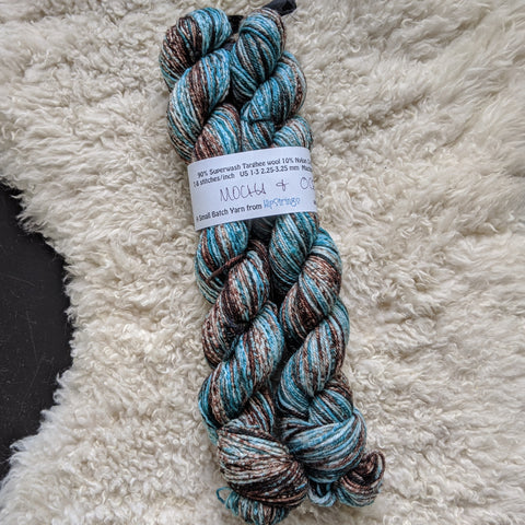 Double Minor SW Targhee Nylon Sock Yarn - Mocha and Ocean - 100g