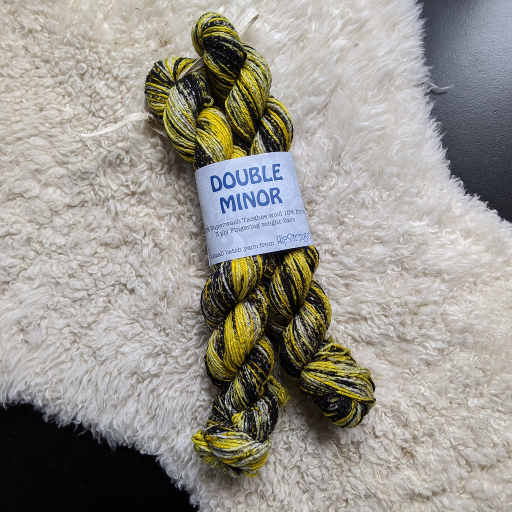 Double Minor SW Targhee Nylon Sock Yarn - Raven and Sunshine - 100g