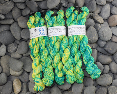 Sunshine & Turquoise Double Major Targhee Sport Sock Yarn