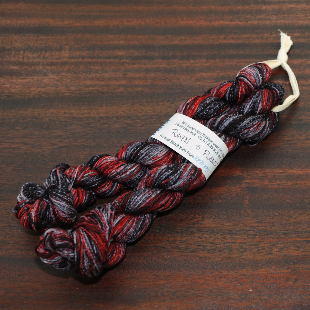 Double Minor SW Targhee Nylon Sock Yarn - Raven and Flame - 100g