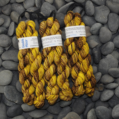 Double Minor SW Targhee Nylon Sock Yarn - Sunshine and Mocha - 100g