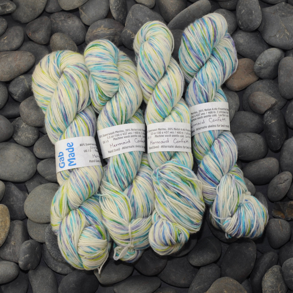 Mermaid Confetti on Merino Sock Yarn - 100 g