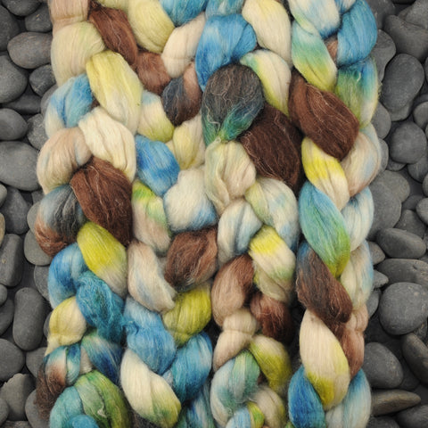 Hand Dyed Polwarth/Silk/Flax Combed Top - Sky Above, Ground Below