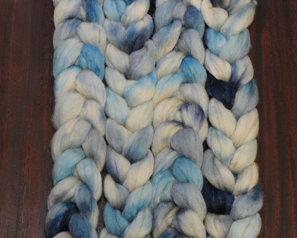 Hand Dyed Polwarth/Silk/Flax Combed Top - Jury in my Head