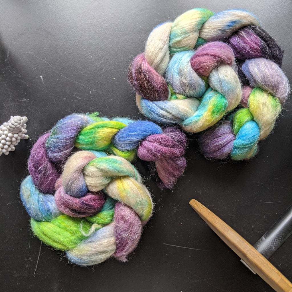 Hand Dyed Polwarth/Silk/Flax Combed Top - The Interpretation of Dreams