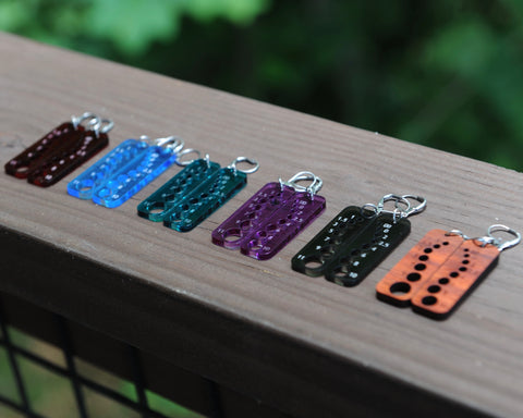 Knitting Needle Gauge Earrings - Assorted Acrylic and Hardwood
