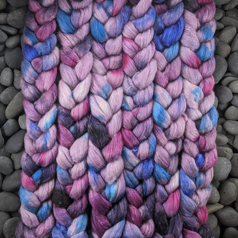 Pressed on Hand Dyed Polwarth/Silk/Flax Combed Top - 4 oz