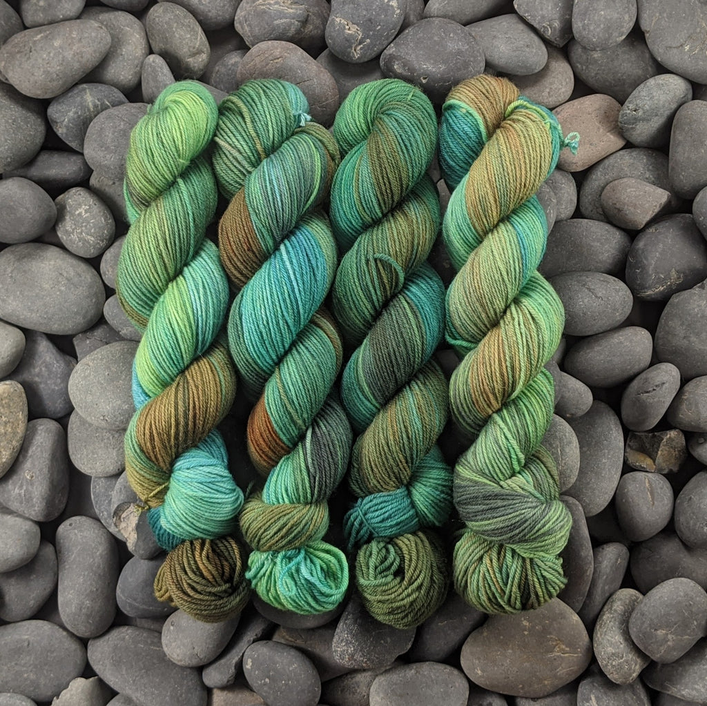 Sky Above, Ground Below on Hand Dyed SW Targhee Nylon Sport Yarn - 100 g