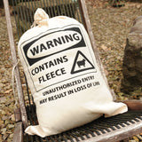 "Fleece Canvas Storage Drawstring Bag ""Warning"""