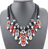 2017 Boho Maxi Crystal Gems Pendant Bohemian Handmade Double Layer Statement Necklace