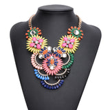 2017 Exaggerated Boho Full Of Crystal Gems Flower Pendant Choker Necklace Statement Bohemian Jewelry For Women Charm Gift N0848