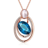 Cat Eye Australian Zircon OPAL Rose Gold Pendant Necklace