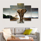 Elephant Oil Painting 5 Panel Canvas Wall Art - NO FRAME