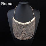 Brand Fashion Multilayer Tassel Boho Maxi Statement Necklace