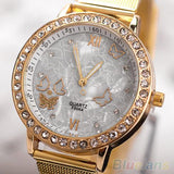 Cute Butterfly Watch - Women's Golden Color Butterfly Face Style Mesh Band Quartz Analog Wrist Watch