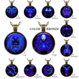 Pendants - Glass Dome Pendant Bronze Necklace Vintage Zodiac Sign